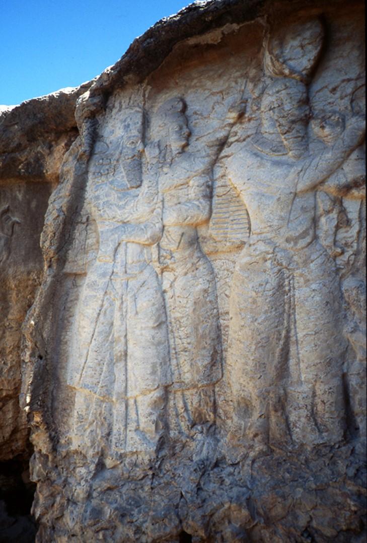 Figure 3. Naqsh-e Rajab (Central Fars, Iran): Naqsh-e Rajab III rock relief: left part. (Source: after [Hinz, 1969, pl. 57]).