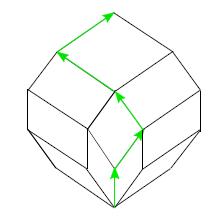Рис. 3. Стандартный тайлинг для  n=5  (стрелками изображена змейка, дающая одноямный линейный порядок 3