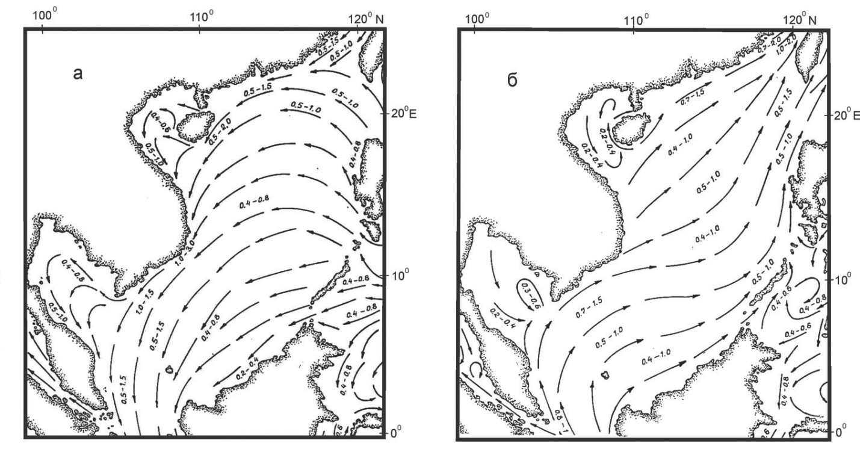 Рис. 3. Поверхностные течения в феврале (а) и в августе (б). Стрелками показано направление течений со скоростями в м/сек (Currents in the South China, Java, Celebes and Sulu Seas… P. 6)