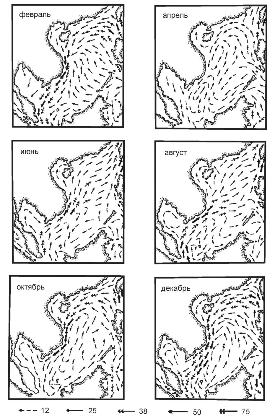 Рис. 4. Среднемесячные карты поверхностных течений Южно-Китайского моря, созданные на основании исторических данных до 1961 г. (Wyrtki. Scientific Results of Marine Investigation… P. 7)