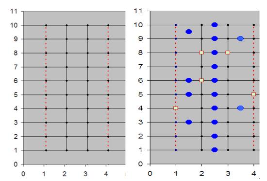 Рис. 6. Населённые пункты (    ) и избирательные участки (     ) в системе координат.