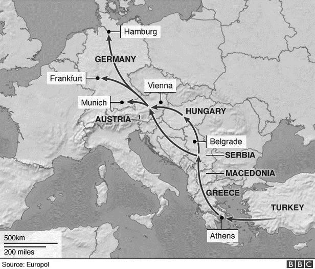 Рис. 2. Путь мигрантов из стран Ближнего Востока в страны–члены ЕС Источник: BBC/Europol: https://www.gazeta.ru/social/2015/09/14/7755377.shtml?updated.