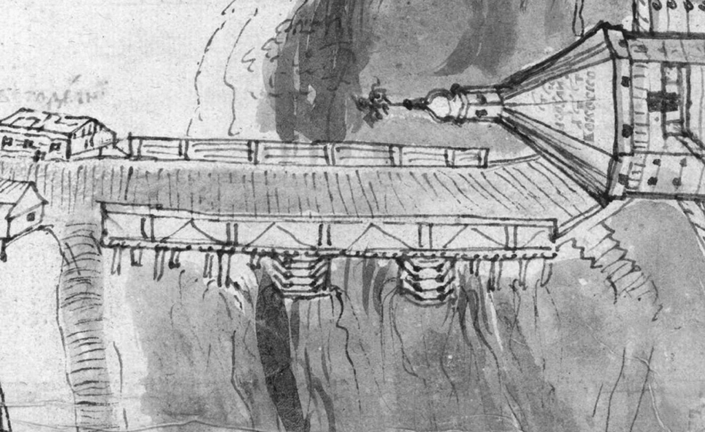 Рис. 15. Мост через р. Витьбу на «Чертеже города Витебска»