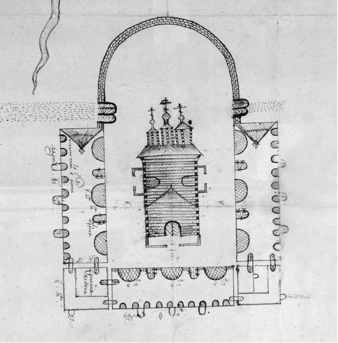 Рис. 20. Чертеж церкви в Екатерининской пустыни