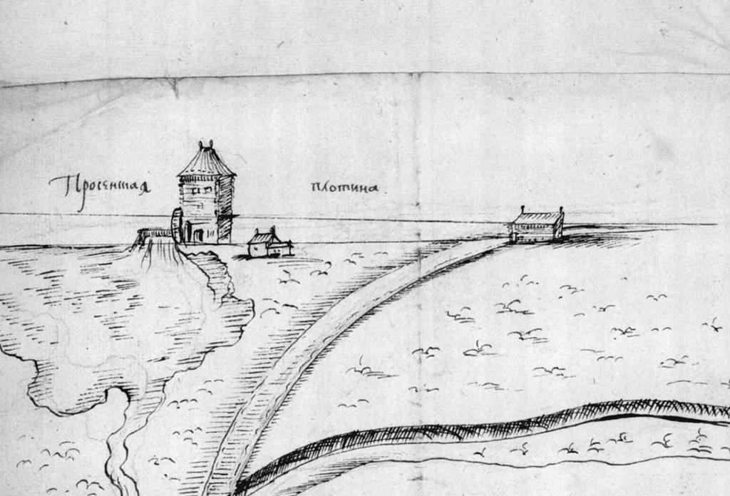 Рис. 5. План Измайловского острова с обозначением плотины