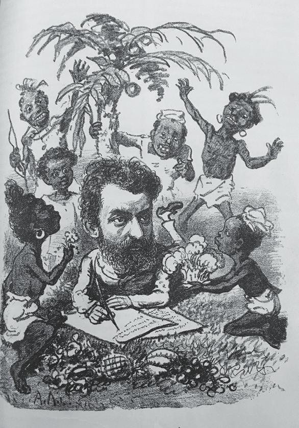 Рис. 4. Портрет-карикатура на Н. Н. Миклухо-Маклая (Михневич. Наши знакомые… Вкладка)