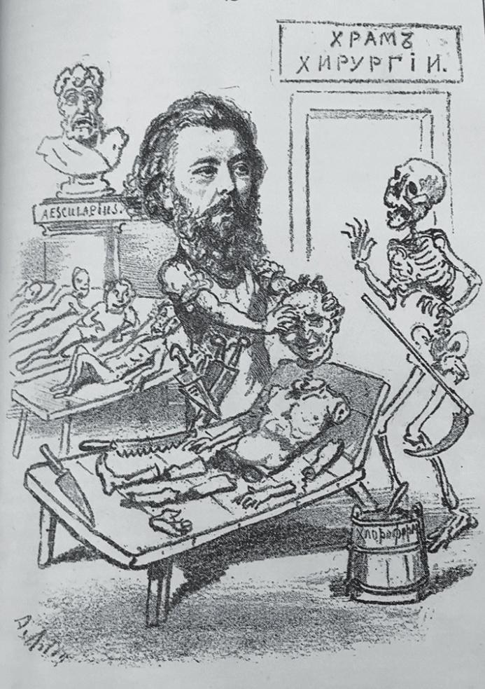 Рис. 6. Портрет-карикатура на Н. В. Склифосовского (Михневич. Наши знакомые… Вкладка)