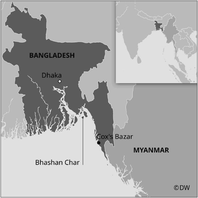 Карта. «Плавучий остров» Башан Чар в Бенгальском заливе. Источник: Deutsche Welle.