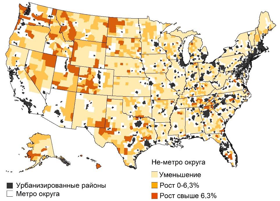 Рисунок 5 Изменение численности населения неметропольных округов, 2010–2019 гг.     Nonmetro population change varies across the United States. USDA/ERS, Available at: >>> (accessed November 02, 2020)