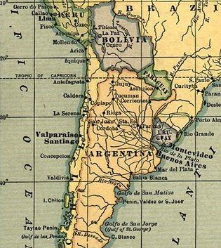 Рис. 3. Территория Чили, Перу и Боливии, 1883 г. [22]