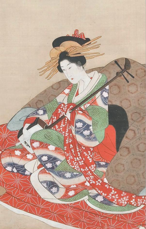 Утамаро Китагава. Гейши играют на сямисэне