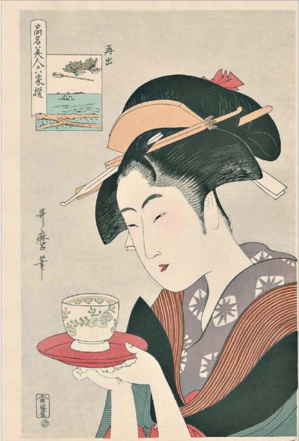 Утамаро Китагава. Гейша с чашкой