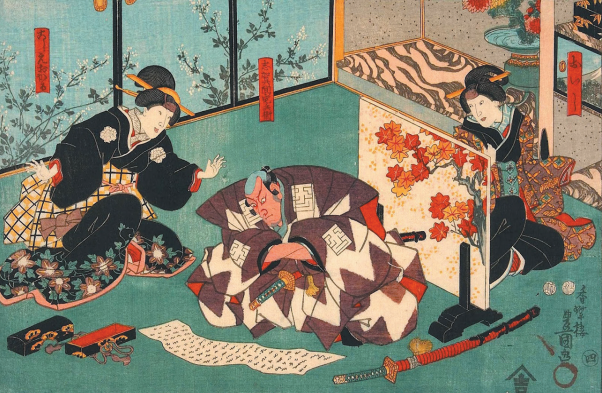 Утагава Кунисада. Самурай и гейши
