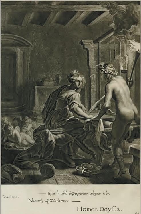 Илл. 1. Пенелопа. По рисунку А. ван Дипенбека. Из сборника «Картины храма муз», 1655 г.