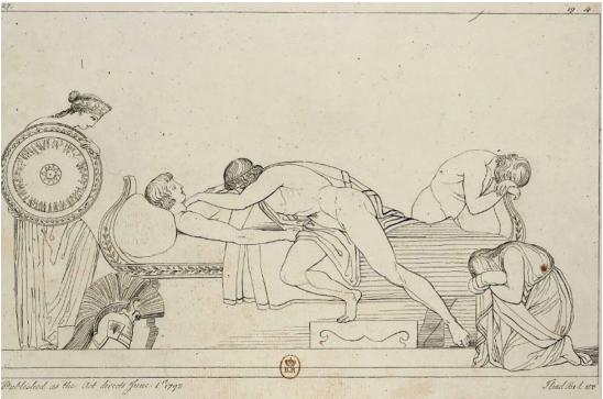 Илл. 11. Ахиллес, оплакивающий Патрокла Гравюра Т. Пироли по рисунку Дж. Флаксмана. 1793 г.