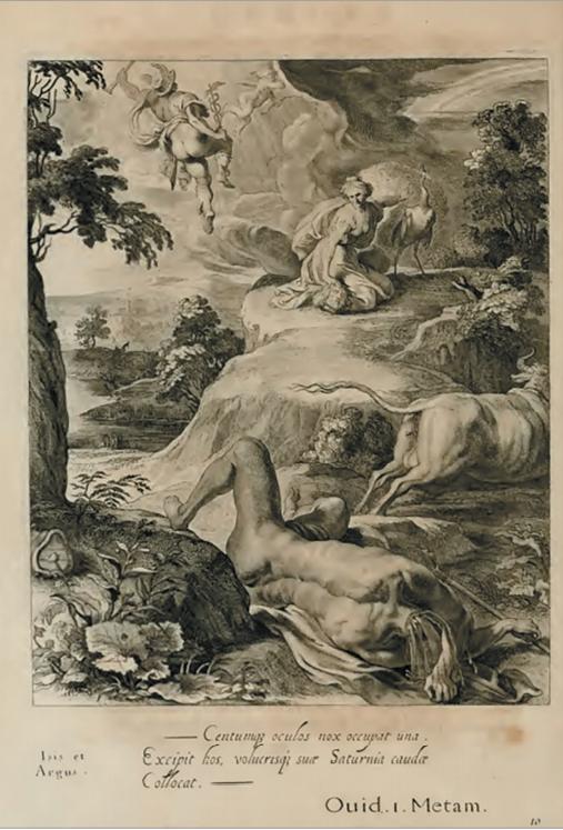 Илл. 2. Исида или нимфа Ио и Аргус. По рисунку А. ван Дипенбека. Из сборника «Картины храма муз», 1655 г.