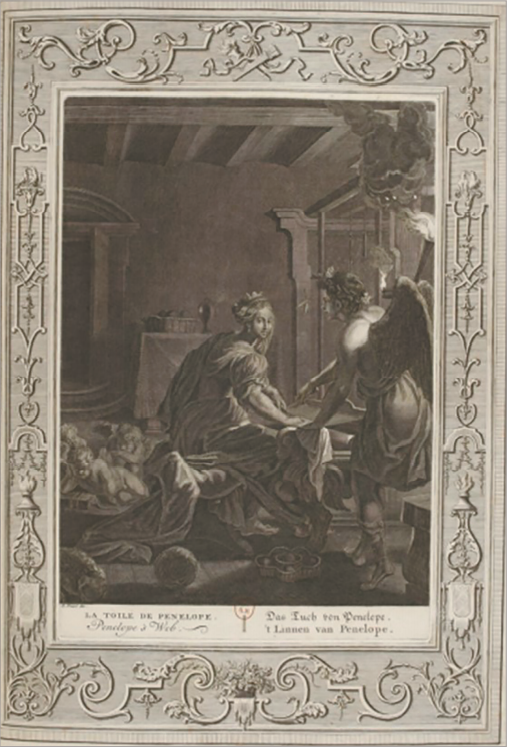Илл. 3. Покрывало Пенелопы. Б. Пикар по мотивам А. ван Дипенбека. Из сборника «Храм муз», 1733 г.