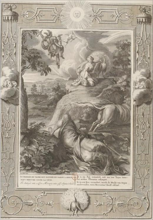 Илл. 4. Ио, превращенная в корову. Аргус, убитый Меркурием. Б. Пикар по мотивам А. ван Дипенбека. Из сборника «Храм муз», 1733 г.