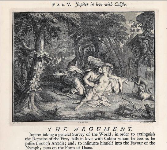 Илл. 5. Юпитер, влюбленный в Каллисто. Ж. Ванделар. Иллюстрация к сборнику Ovid's Metamorphoses. Amsterdam, 1732 г.