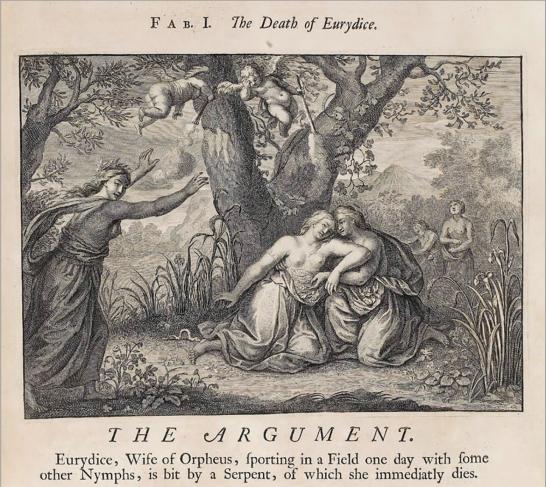 Илл. 6. Смерть Эвридики. Иллюстрация к сборнику Ovid's Metamorphoses. Amsterdam, 1732 г.