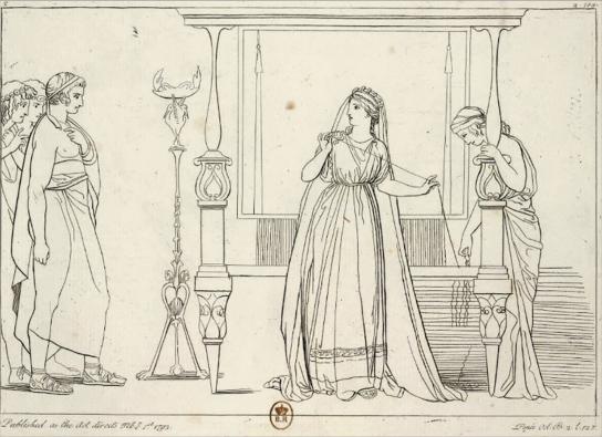 Илл. 8. Пенелопа, застигнутая врасплох женихами. Гравюра Т. Пироли по рисунку Дж. Флаксмана. 1793 г. Национальная Библиотека Франции.