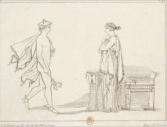 Илл. 9. Гермес приказывает Калипсо отпустить Улисса. Гравюра Т. Пироли по рисунку Дж. Флаксмана. 1793 г. Национальная Библиотека Франции