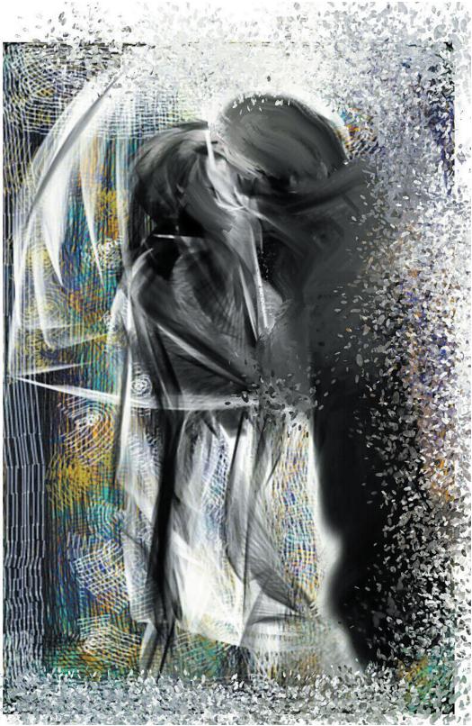Даша Казаринова-Пыльнова, Москва. Поцелуй под дождем. 2018. Графика Digital (предоставлено автором) https://m.vk.com/club124186262.