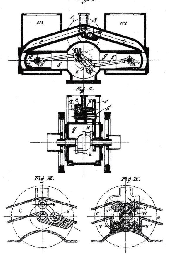Рис. 11. Фрагмент из французского патента Б. Г. Луцкого № 248989 «Газовая и углеводородная машина с двумя цилиндрами, размещенными друг напротив друга, и кривошипами, расположенными под углом 180°»