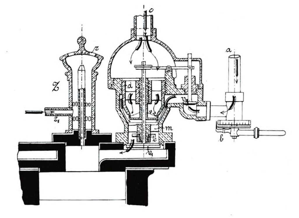 Рис. 13. Расположение впускного клапана и воспламенителя в двигателе конструкции Б. Г. Луцкого с обычной камерой сгорания