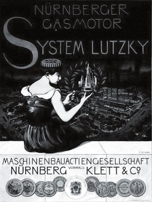 Рис. 15. Плакат с нюрнбергским двигателем системы Б. Г. Луцкого и его наградными медалями, 1894 г.