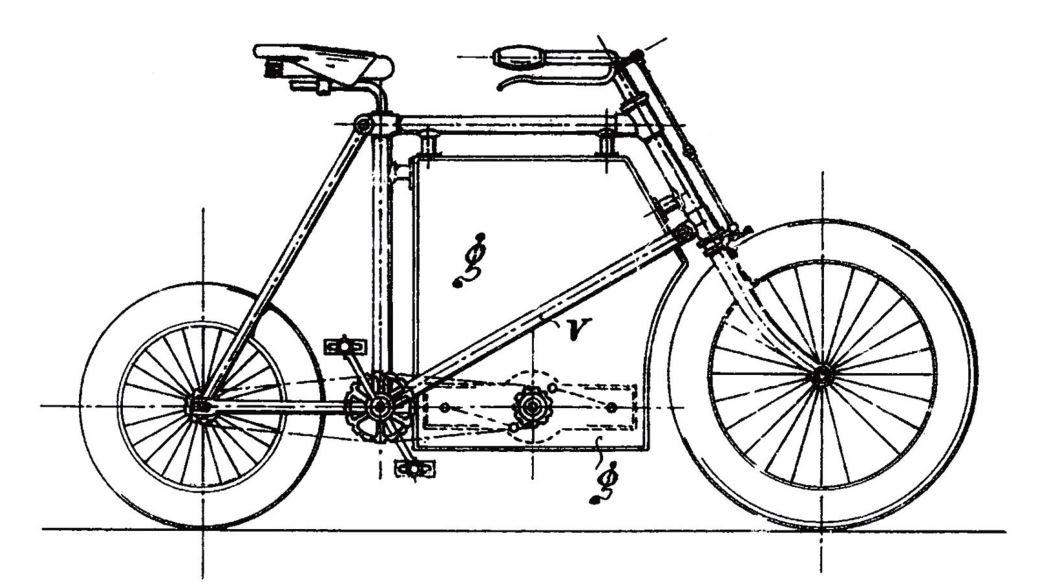 Рис. 17. Моторизованный велосипед конструкции Б. Г. Луцкого, фрагмент из его французского патента № 248990 «Велосипед, движимый мотором и ногами»