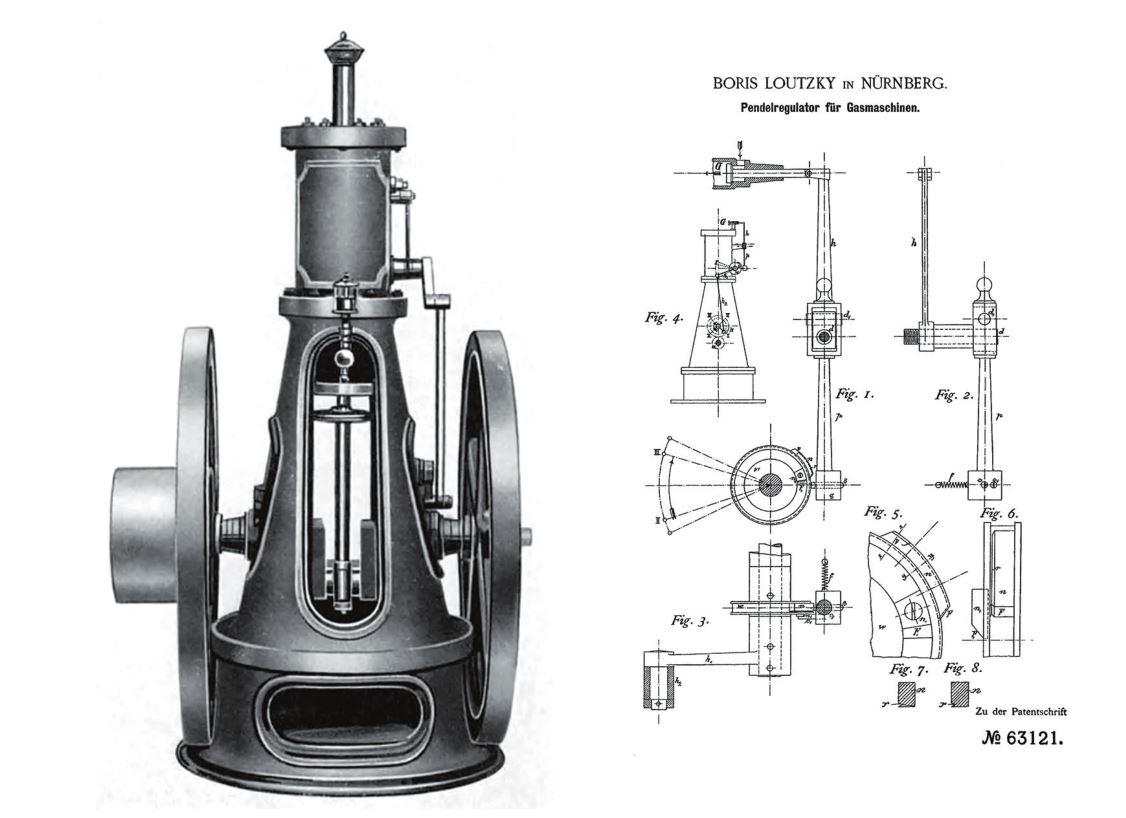 Рис. 2. Двигатель Б. Г. Луцкого 1891 г. (слева) и схема его газораспределительного механизма (справа)