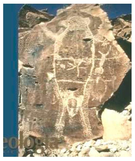 Илл. 5. Петроглиф с антропоморфной фигурой и декоративными мотивами. Пьедрас Пинтас