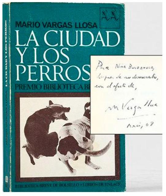 Дарственная надпись Н.Булгаковой на титульной странице испанского издания романа «Город и псы»