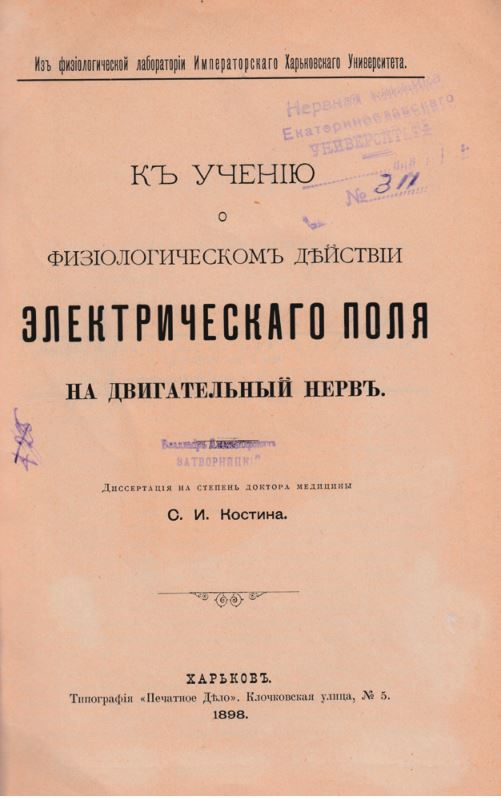Рис. 1. Титульный лист диссертации С. И. Костина