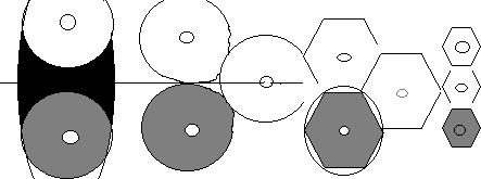 Рисунок 7. Преобразование рыночной зоны из большого круга в маленький шестиугольник.