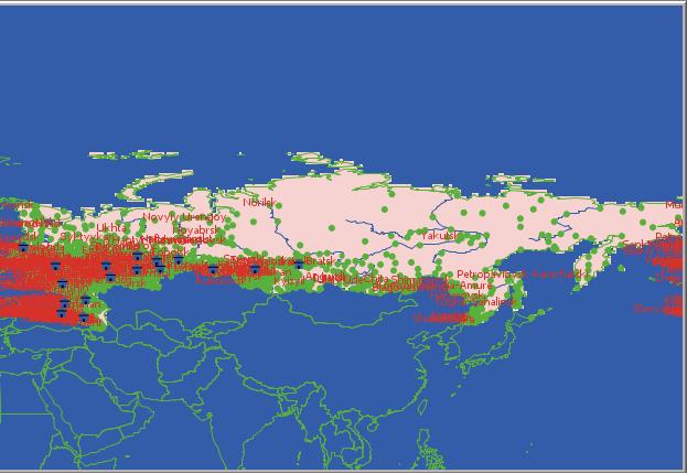Рис.2. Визуализация городов на карте РФ