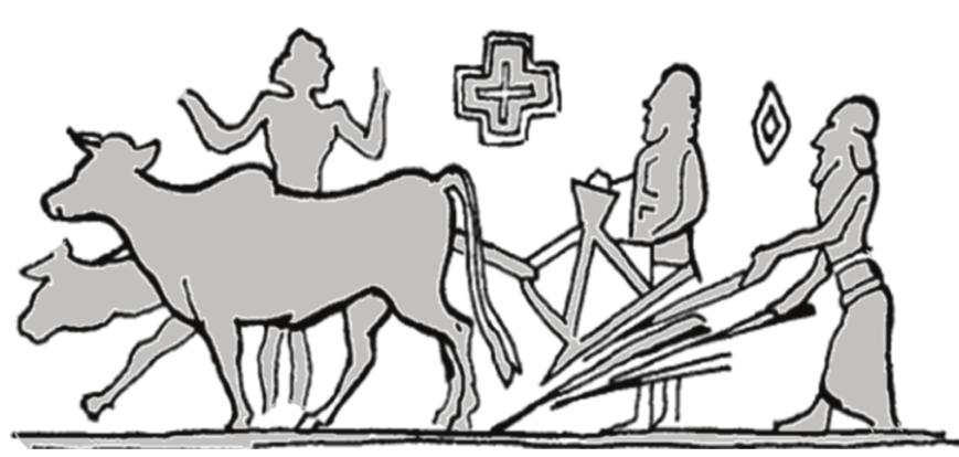 Рис. 1. Древневавилонское почвообрабатывающе-посевное орудие