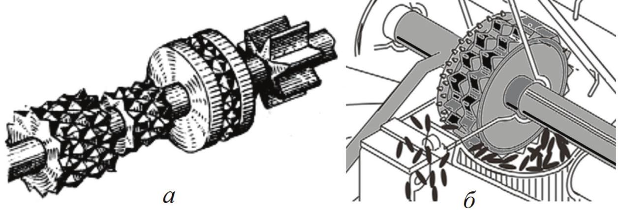 Рис. 4. Катушечно-штифтовые высевающие аппараты: а – аппарат с набором катушек; б – высевающий аппарат сеялки Amazone D9