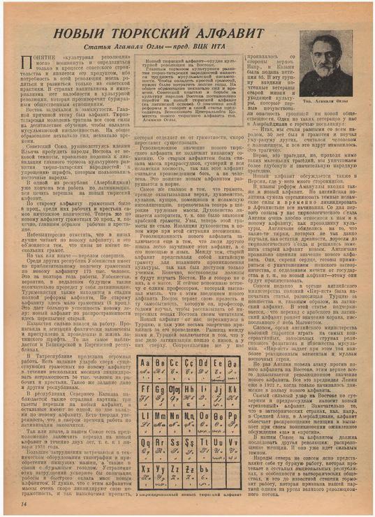Статья главы ВЦКНА С. А. Агамали Оглы о новом тюркском алфавите в газете «Красная Нива», 1929 г.