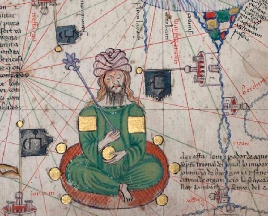 Рис. 17. Условный портрет Джанибека в Каталанском атласе. 1375.