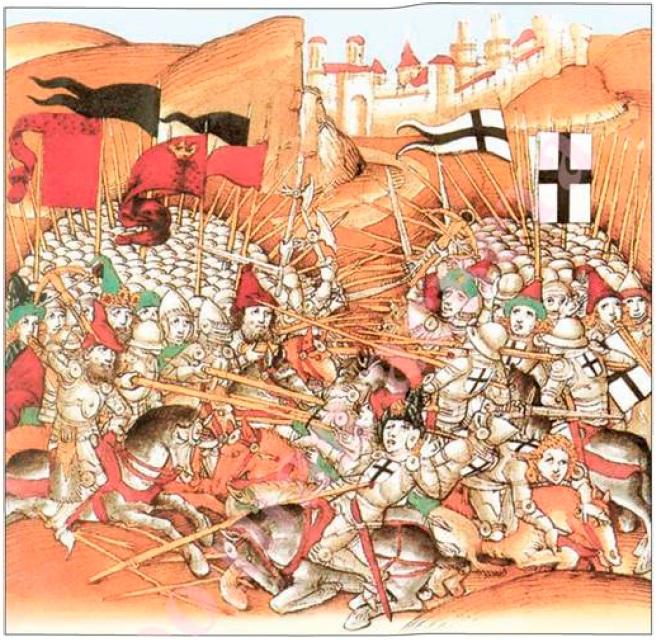 Рис. 22. Грюнвальдская битва. Миниатюра из «Бернской хроники» Дибольда Шиллинга Старшего. Швейцария, XV в.