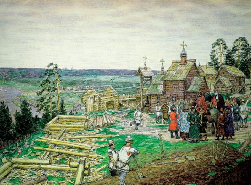 Рис. 25. А. М. Васнецов. Строительство деревянных стен Кремля. 1903 г.